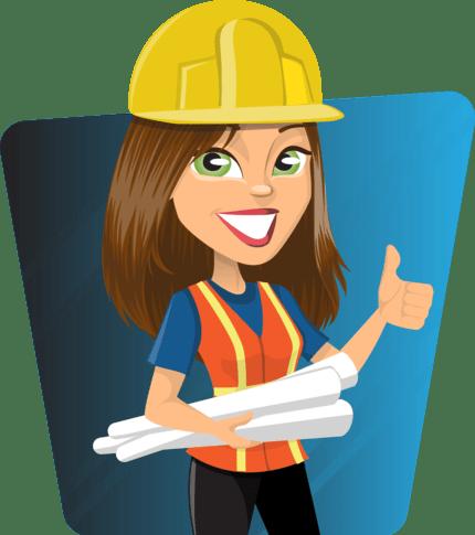 женщина строитель с чертежами